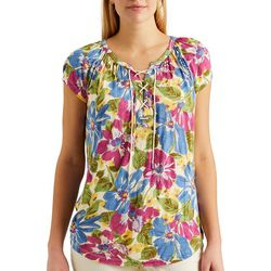 Chaps Womens Lace-Up Neck Floral Carnival Top