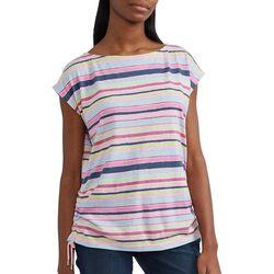 Chaps Womens Stripe Print Side Tie Top