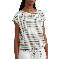 Chaps Womens Striped Button Down Knoted Top