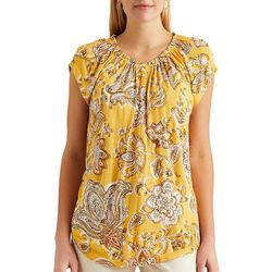 Chaps Womens Paisley Button Placket Top