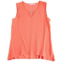 NY Collection Womens Key Hole Embellishment Neck Top