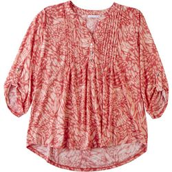Notations Womens Pleated Jacquard Henley Top