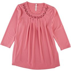 NY Collection Womens Ring Crepe Knit Top
