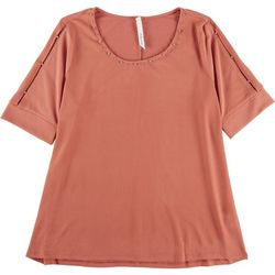 NY Collection Womens Cut Out Short Sleeve Top