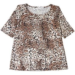 Notations Leopard Fitted Short Sleeve Top