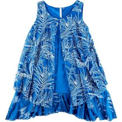 Notations Womens Tropical Leaf Overlay Sleeveless Top