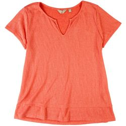 Coral Bay Womens Summer Colors Split Neck Top