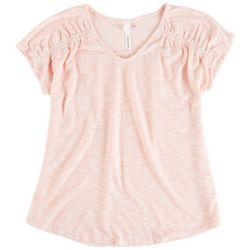 Notations Womens Smocked Shoulders Top