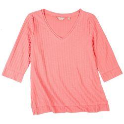 Coral Bay Womens Rib Knit 3/4 Sleeve Top