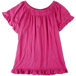 15 South Solid Off The Shoulder Top With Ruffles