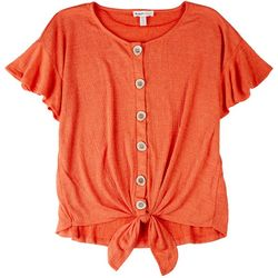 NY Collection Women Front Tie Ruffled Sleeves Top