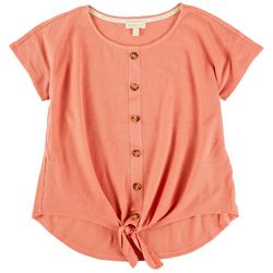NY Collection Women Front Tie Ruffled Sleeves Short Sleeve