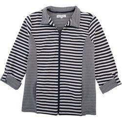 Emily Daniels Womens Striped Zip Up Jacket