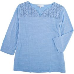 Emily Daniels Womens Scoop Neck Top With Lace Top Detail