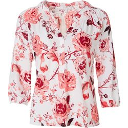 Coral Bay Womens Floral Split Neck Waffle Knit Top