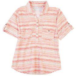 Emily Daniels Womens Stripe Pocket Roll Short Sleeve Top