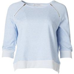 Womens Striped Pullover Zip Detail Sweater