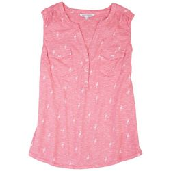 Emily Daniels Womens Flamingos Sleeveless Shirt