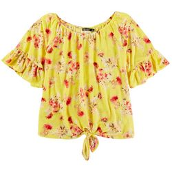 Cure Apparel Womens Floral Long Off Shoulder Tie Front Top