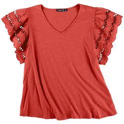 Cure Apparel Womens Crochet Sleeve Top
