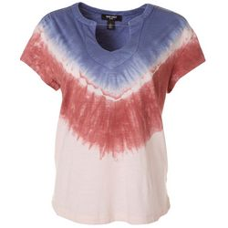 Nine West Womens Tie Dye V-Neck T-Shirt