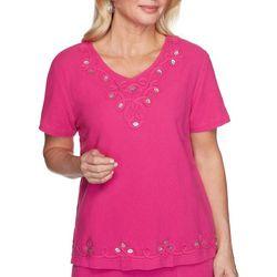 Alfred Dunner Womens Laguna Beach Gauze Embroidered Top