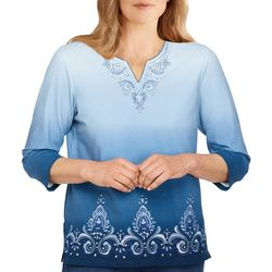 Alfred Dunner Womens Ombre Scroll Embroidery  3/4 Sleeve Top