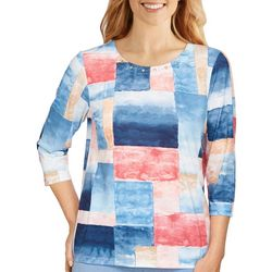 Alfred Dunner Womens Patchwork Watercolor 3/4 Sleeve Top