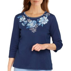 Alfred Dunner Womens Floral Embroisered 3/4 Sleeve Top