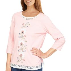 Alfred Dunner Womens Center Floral 3/4 Sleeve Top