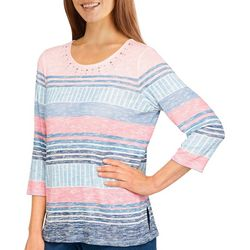 Alfred Dunner Womens Striped Embellished 3/4 Sleeve Top