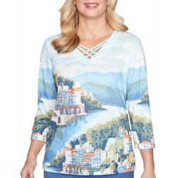 Alfred Dunner Womens Palo Alto Scenic Watercolor Top