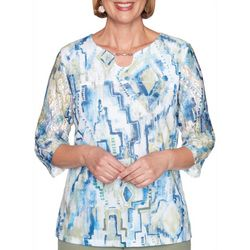 Alfred Dunner Womens Palo Alto Geometric Watercolor Top