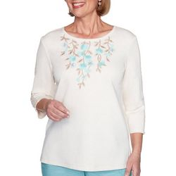 Alfred Dunner Womens Applique Floral Picot Trimmed Top