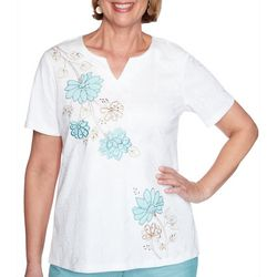 Alfred Dunner Womens Floral Textured Split Neck Top
