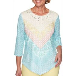 Alfred Dunner Womens Spring Lake Geometric Top