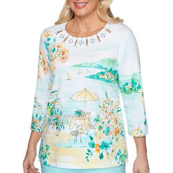 Alfred Dunner Womens Scenic Cutout Embellished Top