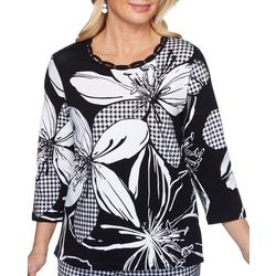 Alfred Dunner Womens Check Floral 3/4 Top