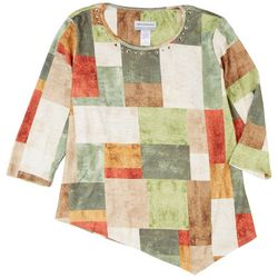 Alfred Dunner Womens Asymmeytrical Patchwork 3/4 Sleeve Top