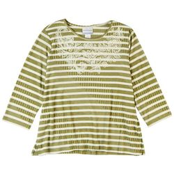 Alfred Dunner Women's Embroidered Striped 3/4 Sleeve Top