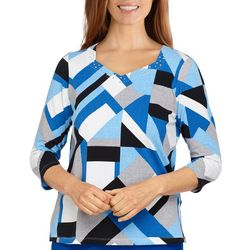 Alfred Dunner Womens Patchwork Bling 3/4 Sleeve Top