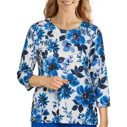 Alfred Dunner Women's Flower Embellished 3/4 Sleeve Top