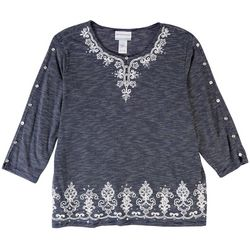 Alfred Dunner Womens Embroidered 3/4 Sleeve Top