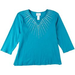 Alfred Dunner Womens Embellished Neck 3/4 Sleeve Top
