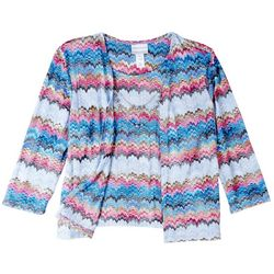 Alfred Dunner Womens Flamingo Print 3/4 Sleeve Top