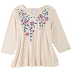 Alfred Dunner Womens Embroidery Neck 3/4 Sleeve Top