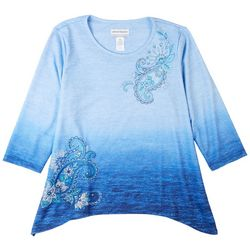 Alfred Dunner Women's Ombre Paisley Print 3/4 Sleeve Top