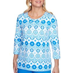 Alfred Dunner Womens Tile Biadere 3/4 Sleeve Top
