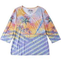 Leoma Lovegrove Womens Palm Tree 3/4 Sleeve Top