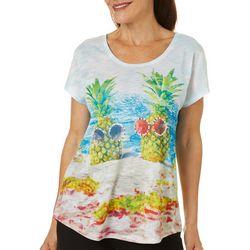 SunBay Womens Pineapple Squad Dolman Sleeve Top